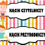 Kąciki w sali przedszkolnej - etykiety do pobrania i drukowania