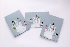 zimowe prace plastyczne - odbita dłoń