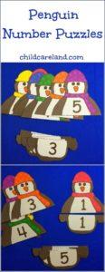 zimowe prace plastyczne - pingwiny do utrwalania cyfr