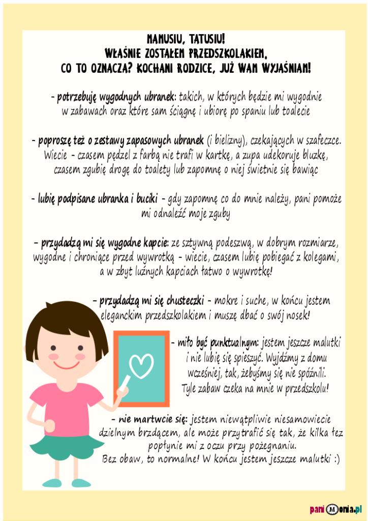 list przedszkolaka dorodziców